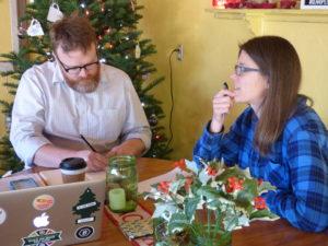 Nomadic writers John Pattison and Lisa Gerlits meeting at Gear Up in Silverton. Melissa Wagoner